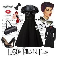1950's Polka Dot Flare by modern-grease on Polyvore featuring Vivienne Westwood, Joan & David, Betsey Johnson, Kate Spade, Bobbi Brown Cosmetics, Elizabeth Taylor, modern and vintage