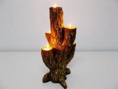 Candle Holder  Faux Wood Candle Holder  Original by SAYSCULPTURES, $79.00