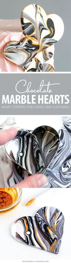 The best DIY projects & DIY ideas and tutorials: sewing, paper craft, DIY. DIY Party Food 2017 / 2018 Marble Chocolate Hearts - how to make marbled heart toppers for cakes and cupcakes using chocolate coating and cookie cutters Marble Chocolate, Chocolate Work, Chocolate Hearts, Chocolate Coating, Chocolate Bowls, Chocolate Cupcakes, Chocolate Decorations For Cake, Chocolate Cake Toppers, Chocolate Butterflies