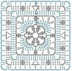 Crochet granny square pattern diagram yarns ideas for 2019 Crochet Squares, Point Granny Au Crochet, Crochet Blocks, Granny Square Crochet Pattern, Crochet Diagram, Granny Squares, Granny Granny, Crochet Stitches Chart, Crochet Motif Patterns