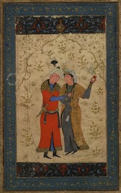 A waltzing couple. Style of 'Abd Allah Bukhara, about 1560-70