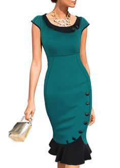 Sweet Vintage-inspired Elegant Bodycon Dress w/Cute Ruffle and Button Accents.