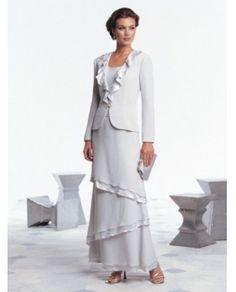 Sheath / Column Scoop Lace Long Sleeves Ankle-length Chiffon Prom Dresses / Evening Dresses (SZ0251094 ) - - It's Free! - english