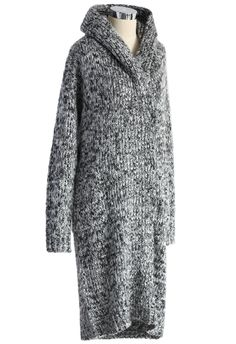 Chunky Knit Hooded Long Cardigan - Outers - Retro, Indie and Unique Fashion