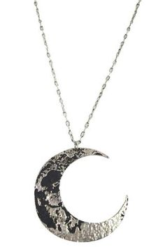 Oversized silver Moon pendant necklace