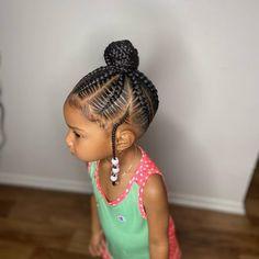 Feed In Braids Bun, Feed In Braids Hairstyles, Lil Girl Hairstyles, Black Kids Hairstyles, Braided Bun Hairstyles, Girls Natural Hairstyles, Dope Hairstyles, Braids For Kids, Girls Braids
