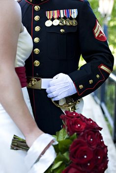 I like how her dress matches the red trim in his uniform, classy dresses blue army marine wedding Military Wedding Pictures, Army Wedding, Wedding Vows, Blue Wedding, Wedding Photos, Wedding Ideas, Military Weddings, Dress Wedding, Wedding Stuff