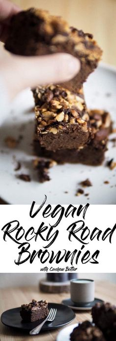 Vegan Rocky Road Brownies topped with Cashew Butter. No Sweetpotato, Beans or Avocado - you have to try!!!