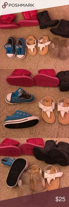 6c little girl shoe lot(Boots like new/PinkNWOT) We live In fly so Boots hardly worn and pink ones never worn! Shoes Boots