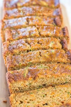 Grandma& Favorite Zucchini Bread is the best zucchini bread recipe of the season. There& a reason it& Grandma& favorite - it& moist and full of tasty spices. This zucchini bread recipe may be traditional, but it certainly isn& boring. Carrot Zucchini Bread, Apple Banana Bread, Carrot Bread Recipe, Carrot Cake Bars, Zucchini Bread Recipes, Zucchini Cake, Banana Recipes, Loaf Cake, Vegan Zucchini