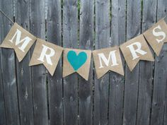 Ivory Turquoise BLUE Rustic MR MRS Burlap Banner Bunting Photo Prop Sign Garland Country Chic Wedding Reception on Etsy, $20.00