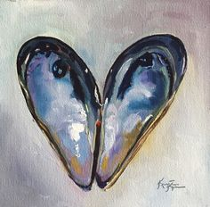 KRISTINE KAINER: Mussel Shells ORIGINAL Daily Painting a Day 6x6 #Impressionism