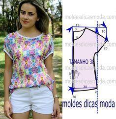Tenha em atenção que o desenho do molde de blusa florida lilás não tem valor de costura tem que ser acrescentado. Apenas os moldes que são para imprimir...