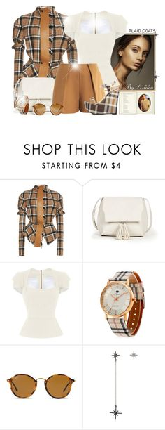 """~Plaid Coat~"" by li-lilou ❤ liked on Polyvore featuring Loewe, Sole Society, Roland Mouret, ShoeDazzle, Ray-Ban and Federica Tosi"