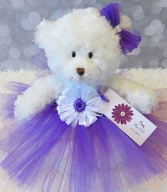"Flower Girl Gift, Personalized Flower Girl Princess Tutu Teddy Bear in Custom Colors, Wedding Keepsake, 12"" Bear by LilBlackDogCrafts on Etsy https://www.etsy.com/listing/154470566/flower-girl-gift-personalized-flower"