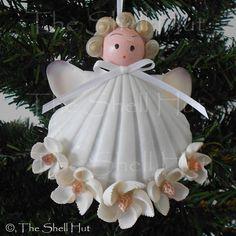 Seashell Christmas Ornaments | seashell angel sea shell Christmas angel wedding ornament starfish ...