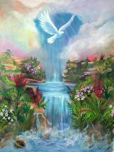 'Paradise' Holy Spirit Dove and living waters, Prophetic Art painting. Heaven Pictures, Jesus Pictures, Art Pictures, Heaven Images, Jesus Christ Images, Christian Pictures, Prophetic Art, Fantasy Landscape, Bible Art