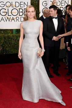 1. Diane Kruger in a silver Emilia Wickstead gown. 2. Emma Stone in an embellished Lanvin...