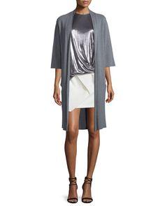 HALSTON HERITAGE Long Tie-Front Kimono Cardigan, Heather Gray. #halstonheritage #cloth #