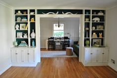 I love the white and teal built-ins from Young House Love.I want built-ins. Painted Built Ins, Painted Bookshelves, Built In Bookcase, Bookcases, Blue Bookshelves, Styling Bookshelves, Library Bookshelves, Young House Love, My Living Room