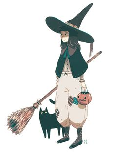 kylefewell: Little witch and her cat
