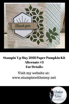 Stampin' Up May 2018 Paper Pumpkin Kit Alternative #3 Alternative 3, Stampin Up Paper Pumpkin, Pumpkin Cards, Pumpkin Ideas, Bee Design, Masculine Cards, Stamping Up, Pumpkins, Bees
