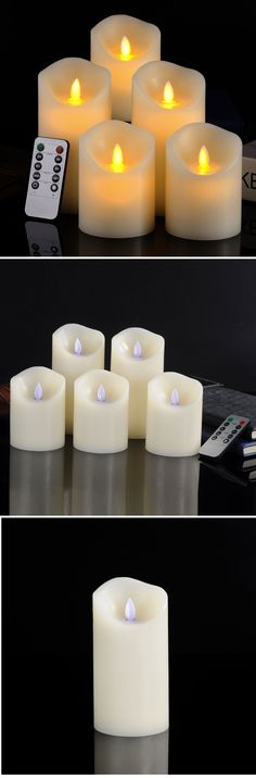 Set of 5 Realistic Moving Flame Real Wax Flameless Candles with 10-Key Remote Control   Craze Trend