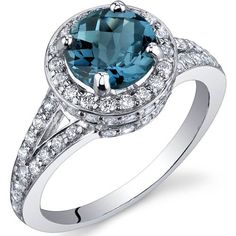 Majestic Sensation 1.50 Carats London Blue Topaz Ring in Sterling Silver Rhodium Finish Size 5 to 9