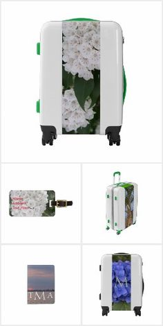 One-of-a-kind Luggage Suitcases and matching Accessories in a variety of themes.  Personalize.  Choose carry-on, medium or large suitcases (includes TSA approved lock), I.D. Luggage Tags, Passport Holders.  Original Photography and Graphic Artwork designs by TamiraZDesigns.
