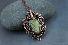 Labradorite pendant Metalwork necklace by LenaSinelnikArt on Etsy