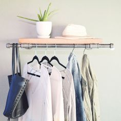 """Clothing Display Rack Pictured: - 12"""" D x 38"""" L, Wood Shelf 10""""D x 30""""L - Black Steel Pipe - Protective coating"""