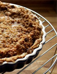 Peach-Mascarpone Custard Pie with Amaretti Cookie Crumble from Evan Kleiman, host of KCRW's Good Food, Los Angeles