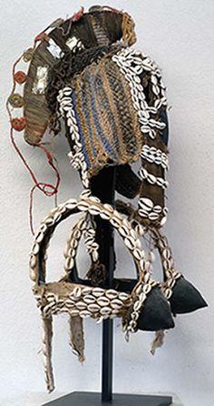 Dogon ceremonial dancing headdress. Mali | Wood, fiber, cloth, cowrie shells
