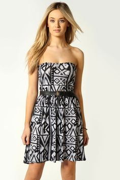 Olivia Bandeau Printed Skater Dress