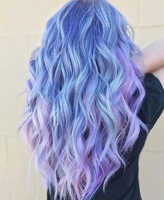 Cute Hair Colors, Hair Color Purple, Hair Dye Colors, Cool Hair Color, Icy Blue Hair, Pastel Colored Hair, Pink Purple Blue Hair, Periwinkle Hair, Vivid Hair Color