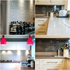 DecoKiln Stack #Textured #Glass #Splashback in Black & White installed by In-to-to# Kitchens