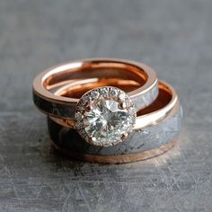 Here's a first look at one of our newest #weddingring sets made from #rosegold and #meteorite! See more here: https://www.etsy.com/listing/510907153/unique-meteorite-wedding-ring-set-14k?ref=shop_home_active_1?utm_source=WeddingChicks&utm_medium=Wedding-Chicks-Post-2389&utm_campaign=Wedding-Chicks-Post-Feb