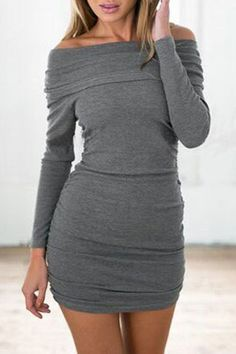 Grey, Slash Neck, Long Sleeve, Bodycon Dress.