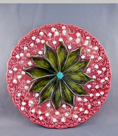 Vintage Majolica Lily-of-the-Valley plate. Another favorite motif.