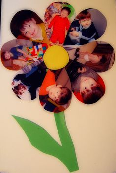 Toddler arts craft photo flower  start of year class flowers end of year
