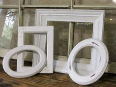 Wooden Frames Set of 4 White Frames Distressed by ThrownTogether, $37.00