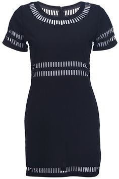 Zippered Cut-out Black Dress. Description Black dress, featuring a round neck, short sleeve styling, rear zipper, high waist, cut-out design on collar, cuffs, waist and hemlien, hollow styling, a soft touch. Fabric Chiffon. Washing Cool hand wash with similar colours, do not tumble dry. #Romwe