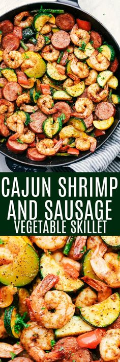 Cajun Shrimp and Sausage Vegetable Skillet is the BEST 20 minute meal packed with awesome cajun flavor with shrimp, sausage, and summer veggies. This makes a great low carb meal and is also great for meal prep!