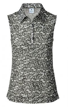 Daily Sports Ladies & Plus Size Leonie Mesh Sleeveless Golf Polo Shirts - NATURAL ELEGANCE (Black)