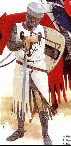 Ridder uit het Heilige Rijk rond 1200. Uitrusting destijds bestond hoofdzakelijk uit maliën.