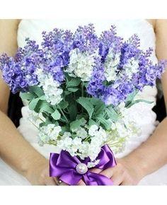 Hand-Tied Bouquet de mariée perlée Lavande