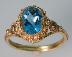 Blue Topaz and 14K Gold Ring w/ Diamonds by FernandoJewelry, $675.00