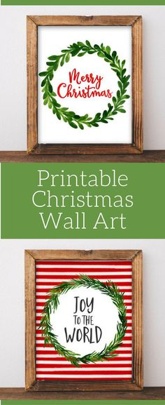 Printable Christmas wall art on Easy, Merry Christmas wall art, Joy to the world, DIY Christmas decor, Print yourself Christmas wall decor, Christmas sign, Christmas printable art by GracieLouPrintables on Etsy