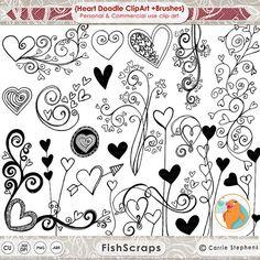 Garabatos de corazón Clip Art ClipArt de boda para por FishScraps