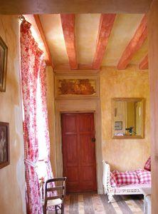 Brise bise campagne d co cuisine rouge vichy et pompon 45 - Maison peinte en gris ...